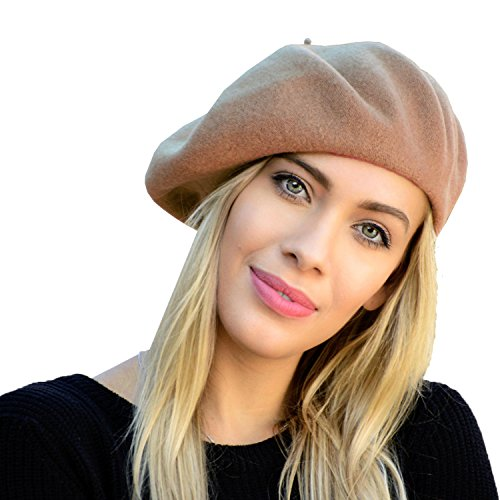 Wool Beret Hat French Style Women Solid Color Thicken Warm Multiple Wear Ways (Camel)