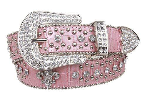 "Snap On Western Cowgirl Alligator Rhinestone Fleur De Lis Studded Leather Belt Size: S/M - 31"" Color: Pink"