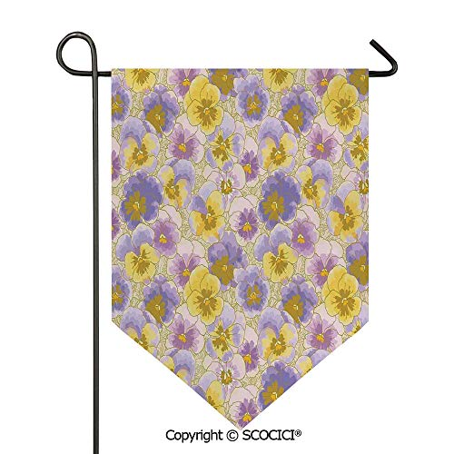 SCOCICI Easy Clean Durable Charming 12x18.5in Garden Flag Hand Drawn Pansy Flowers Garden Botanical Artistic Watercolor Pattern,Lavander Lilac Yellow Double Sided Printed,Flag Pole NOT ()