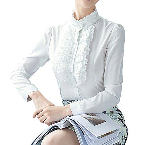 Y&Z Womens Shirts Lotus Ruffle Vintage Long Sleeve + Brooch BS17 Black