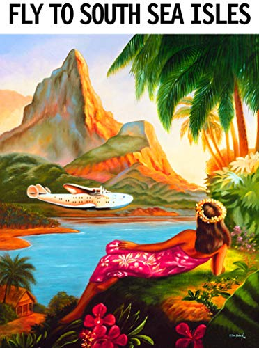 Fly to the South Sea Isles Tahiti French Polynesia Bora Bora Tahitian Island Vintage Airline Travel Home Collectible Wall Decor Advertisement Art Poster Print. Measures 10 x 13.5 inches