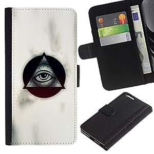KLONGSHOP // Tirón de la caja Cartera de cuero con ranuras para tarjetas - Masones de ojos volver a ver a Blanca - Apple Iphone 6 PLUS 5.5 //