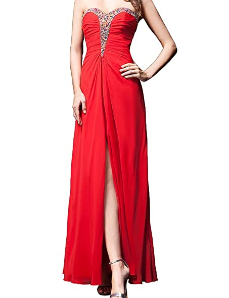 ASBridal Sweetheart Slit Prom Dresses Chiffon Formal Prom Evening Ball Gowns Red US 2