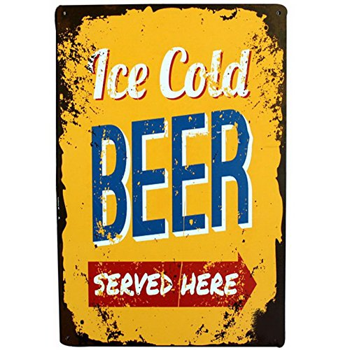 Fenta Pub Bar Wall Decoration Metal Tin Sign Poster Plaque Ice Cold Beer - Cold Beer Sign