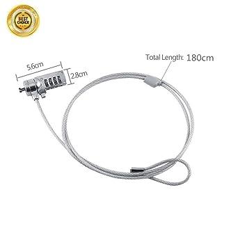juelinebo portátil Cable de seguridad cerradura de combinación – 4 dígitos contraseña Protecciones, robo Disuasión