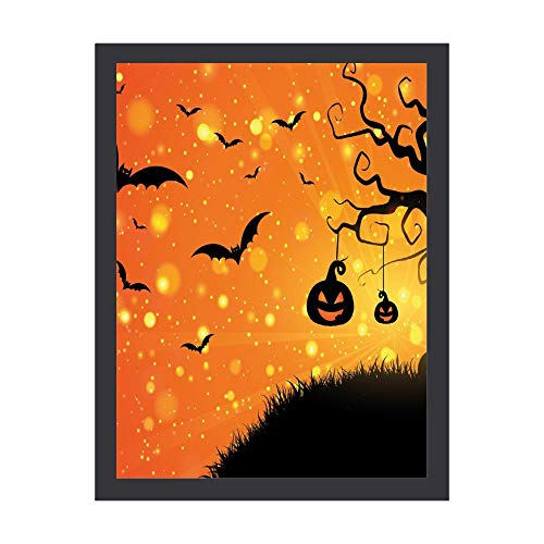 Home Wood Framework Halloween,Magical Fantastic Evil Night Icons Swirled Branches Haunted Forest Hill Decorative,Orange Yellow Black,Wall Art Ready to Hang for Living Room Kitchen Home Decor
