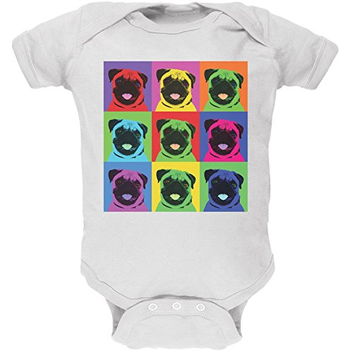 Pug Pop Art Repeating Squares White Soft Baby One Piece - 6 month -