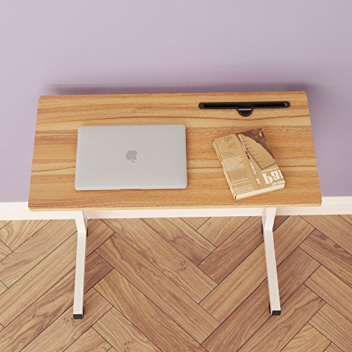 DlandHome 31.4'' Large Size Mobile Side Table, Adjustable Movable w/ Tablet Slot & Wheels, Portable Laptop Stand for Bed Sofa, 05#3-80O Oak, 1 Pack by DlandHome (Image #7)