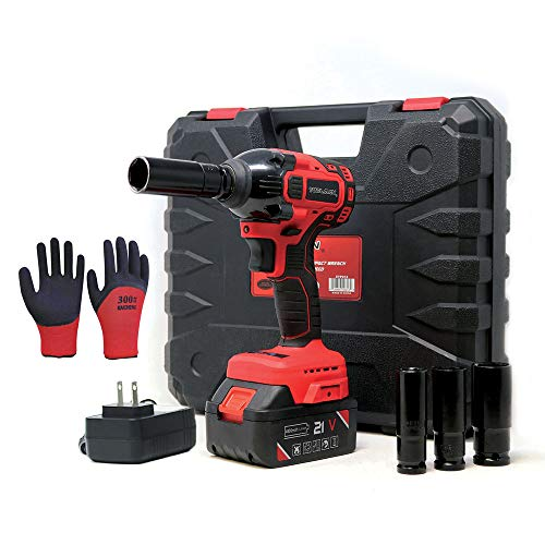 """Toolman Rechargeable Lithium-ion cordless Power Impact Wrench kit 1/2"""" 21V with Drill Set Led Light Free Case & Work Gloves (1 Battery)"""
