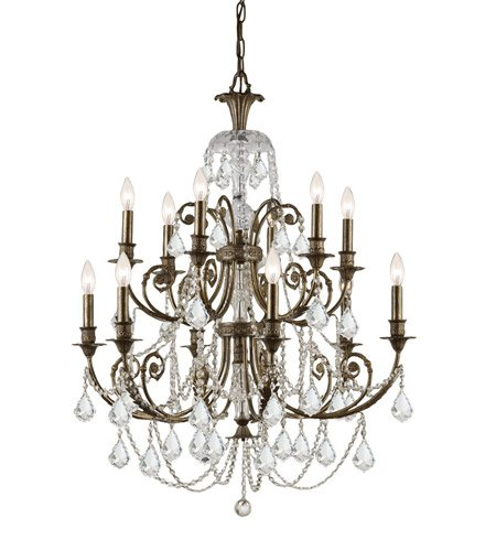 (Chandeliers 6 Light with English Bronze Clear Swarovski Strass Crystal Wrought Iron 32 inch 360 Watts - World of Lighting )