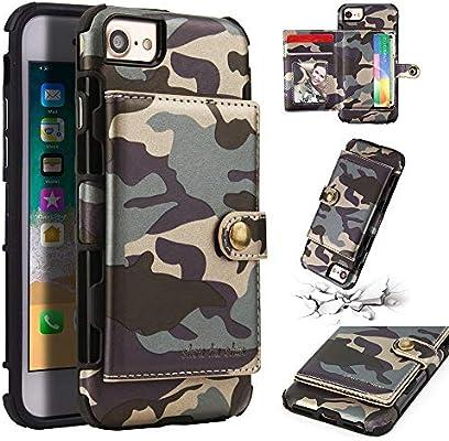 75c109f113d ASDJKL Funda para iPhone 6 Plus / 6s Plus con Soporte y Ranuras para  Tarjetas, Funda de protección magnética para Bolso con Funda de Cuero  camuflada (Color ...