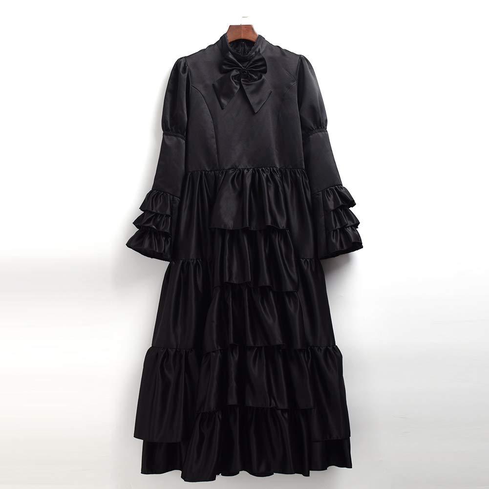 GRACEART Victoriano Gótico Disfraz de Reina Medieval Vestido de Fiesta Vestido de cóctel Vintage Vestido de Fiesta (L, Negro)