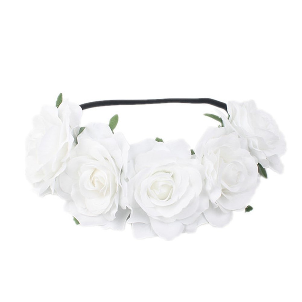 Auranso Hawaiian Ladies Tropical Rose Flower Elastic Headband Floral Garland Stretch Hair Band Bride Wedding Party Headwear