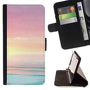 ForSamsung Galaxy S3 MINI i8190 (NOT S3) Case , Mar Océano Summer Sun Beach Purple- la tarjeta de Crédito Slots PU Funda de cuero Monedero caso cubierta de piel