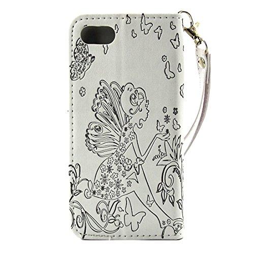 Para el iPhone 7 más flor en relieve flor de mariposa patrón de diamante Encrusted horizontal flip cubierta de cuero de la caja con el titular y la tarjeta de ranuras y la cartera y marco de fotos y c IP7P1116WB