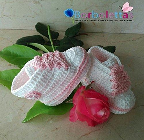 Patucos para Bebé Recién Nacido, tipo Converse, blanco- rosa, 0-3 ...
