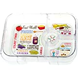 Yumbox Illustrated 4-compartment Bento Food Tray (Yumbox Outer Leakproof Shell Not Included) Eat Well Tray Design