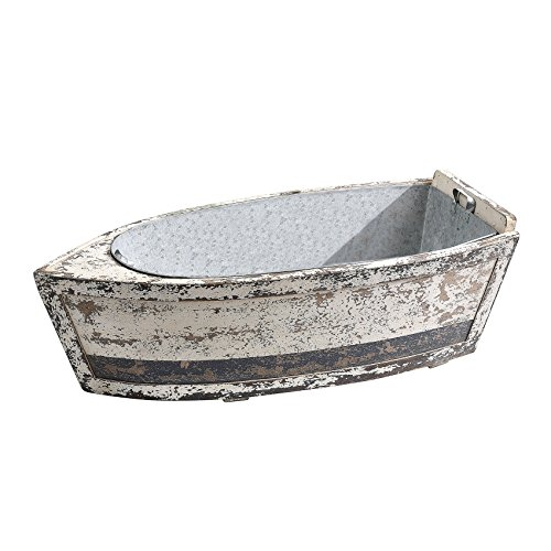 Creative Co-op Wood Decorative Boat with Tin Insert