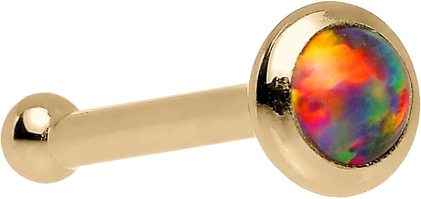 Solid 14k White Gold 2mm Synthetic Opal Nose Stud Bone 18 Gauge 1//4