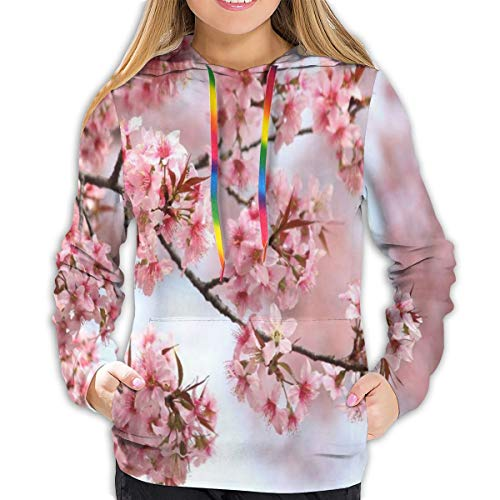 Women's Sweatshirt Japanese Pink Beautiful Cherry Blossom Marvellous Girl Casual Hooded Athletic Pullover