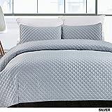 California Design Den Hotel Diamond Coverlet Quilt Set, King, Silver