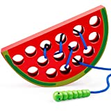 Coogam Wooden Lacing Watermelon Threading Toys Wood Block Puzzle Travel Game Early Learning Fine Motor Skills Montessori Educational Gift for 1 2 3 Years Old Toddlers Baby Kids