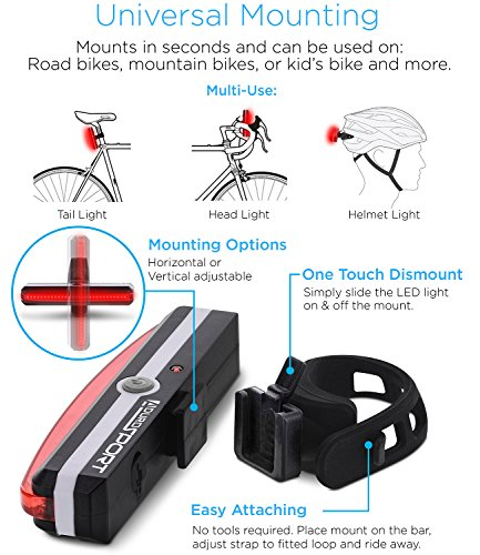Aduro Sport LED Rear Bike Light USB Rechargeable - Ultra Bright Powerful Safety Taillight, 6 Light Mode Options, One Touch Mount and Dismount, IPX4 Waterproof, for All Bikes by Aduro (Image #3)