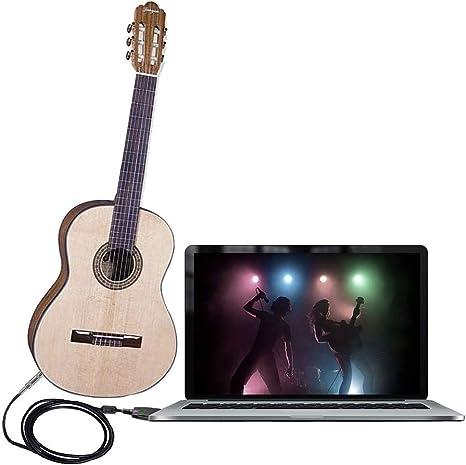 USB Cable de guitarra, yeung Qee USB interfaz macho a 6,35 mm 1/4 Mono macho Guitarra eléctrica Cable Cable de audio conector adaptador de cables para instrumentos de grabación cantando -3 M/M: