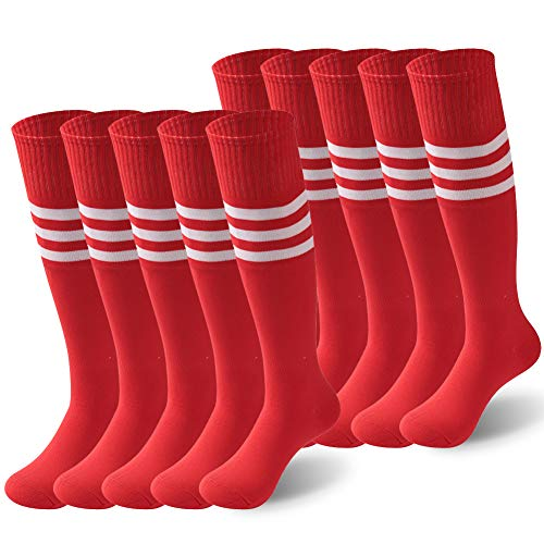 KitNSox Team Sport Uniform, Big Boys Red Stripes Colorful Unisex Quicky Dry Cheerleading Sports Tube Breathable Football Volleyball Soccer Socks Plus Size 10 ()