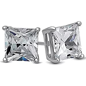 LUVAMI 18k White Gold Plated CZ Cubic Zirconia Square Princess Cut 7mm 1.25 Carat Studs Earrings Gift Box Included - Mens Womens Children Fashion Jewelry, Bridesmaid Groomsmen Gifts