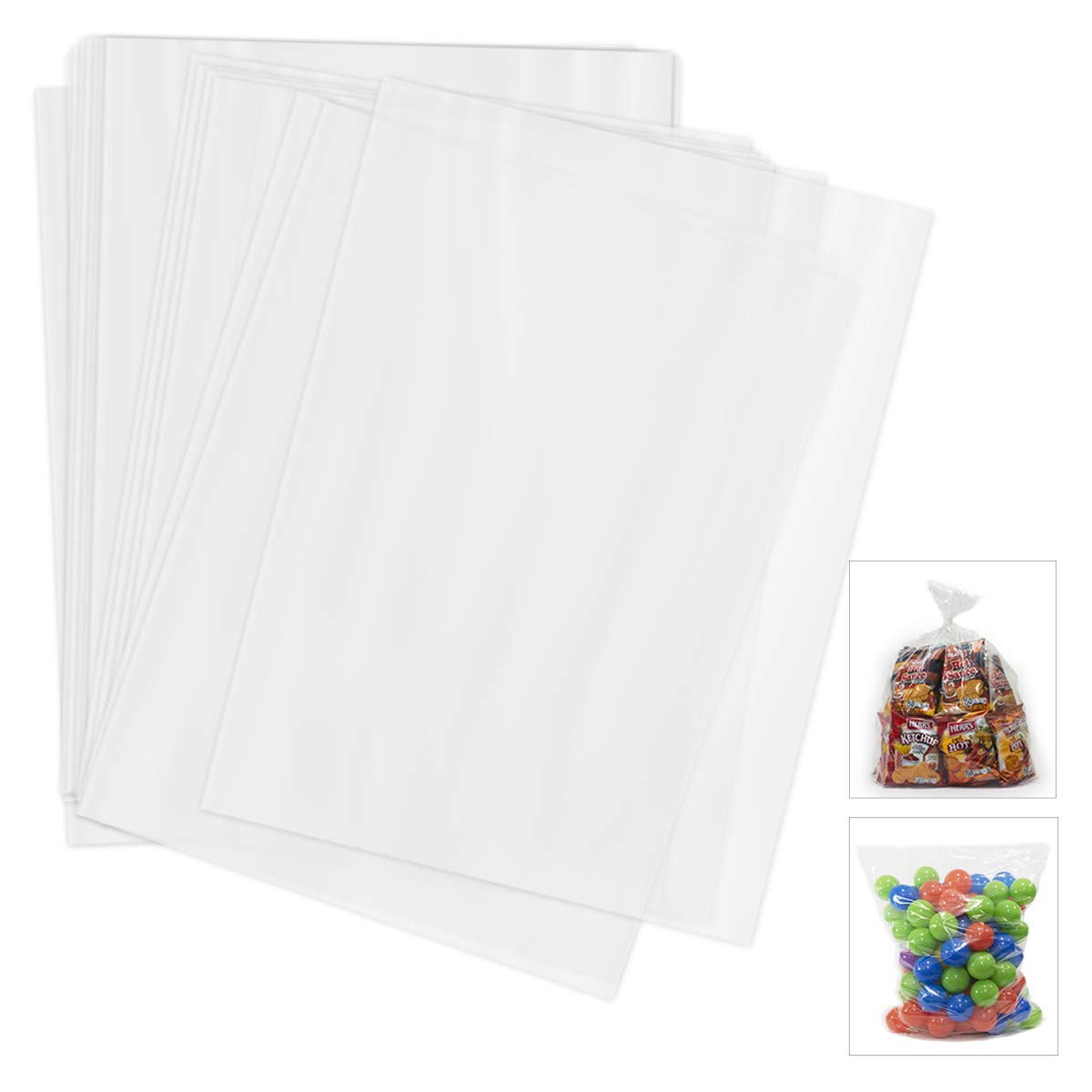 Poly Extra Large Storage Bags - 100 Pack - 18 X 24 Inches - 1.5 Mill Thick Jumbo Size Storage Bags - Clear Storage & Organizing Bags - Great For Meal Prepping Or Snacks - Multipurpose