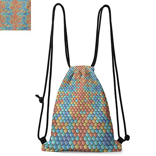 Fish Durable Drawstring Backpack Maritime Animal Scales Pattern Abstract Geometric Half Circles Mermaid Tail Design Suitable for carrying around W17.3 x L13.4 Inch -