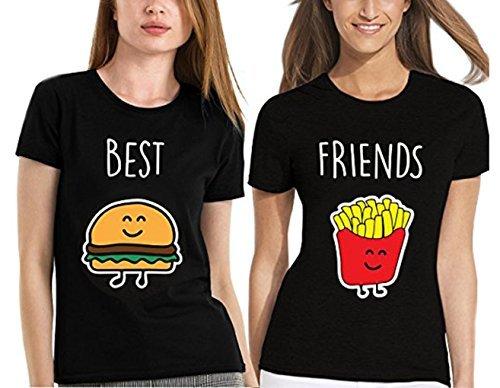 tshirt Stampa Patatine Ziwater Best Fritte Pezzi Friends E T Best Casuale Divertente Hamburger Shirt shirt Tops 1oo Maglietta 2 Donna Cotone q4OvRxq