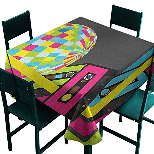 Sunnyhome Resistant Table Cover Popstar Party Retro Party Theme Disco Ball 80s Style Audio Cassette Tapes Colorful Stripes Resistant/Spill-Proof/Waterproof Table Cover 36x36 Inch Multicolor