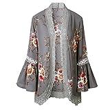 ACEFAST INC Vintage Women Girls Floral Print Long Loose Kimono Jacket Coat Cardigan Blouses (Medium, Gray)