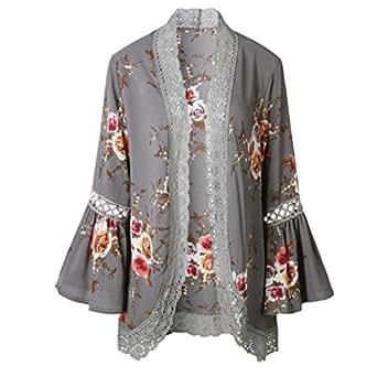 ACEFAST INC Vintage Women Girls Floral Print Long Loose Kimono Jacket Coat Cardigan Blouses (Small, Gray)