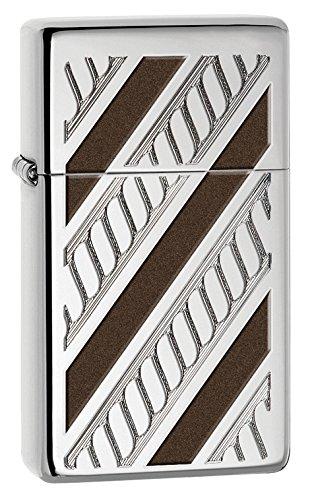 Zippo High Polished Chrome Slim Armor Rope Band Pocket Lighter