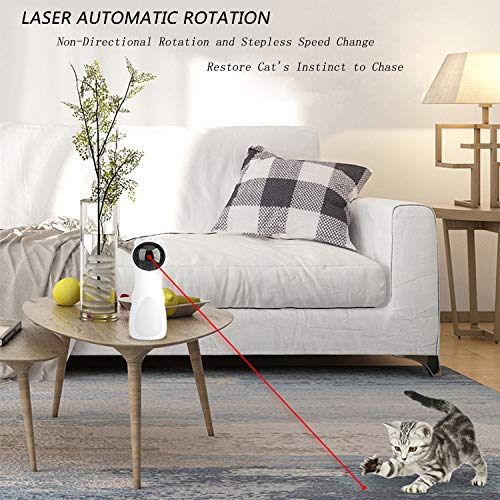 EliveSpm Cat Laser Toy-Automatic Rotating Lazer Pointer with 5 Stage Rotating Projection Angle and 3 Speed Modes, Interactive Chasing Toys for Cats&Dogs 6
