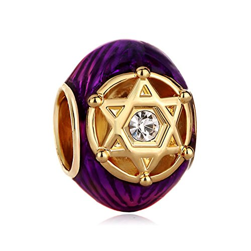 Purple Crystal In Double Triangles Rayed Star Of David Bead ()