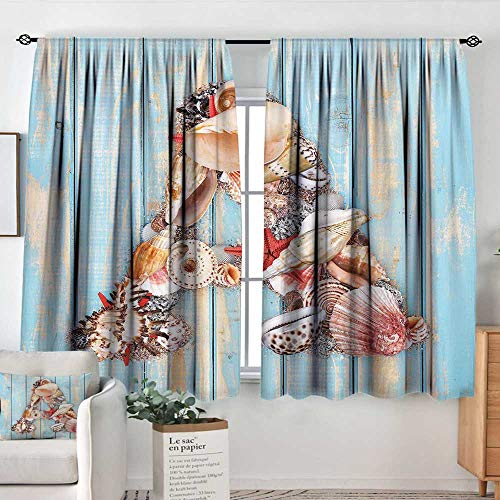 Elliot Dorothy Bedroom Curtains Letter A,Letter A with Seashells on Pale Wooden Board Invertebrates Animal,Pale Blue Ivory Dark Coral,Insulating Room Darkening Blackout Drapes 42