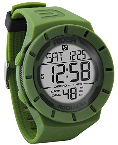 Rockwell Time RCP-121 Coliseum Pedometer Digital Dial Watch, Black/OD Green