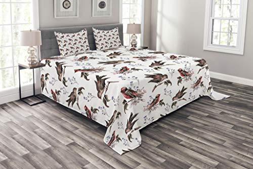 Lunarable Birds Bedspread Set Queen Size, Vintage Watercolor Effect Sparrows on Tree Branches Botanical Arrangement, Decorative Quilted 3 Piece Coverlet Set with 2 Pillow Shams, Brown Scarlet ()