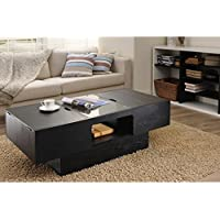 Furniture of America Stevie Black Finish Hidden Storage Rectangular Coffee Table