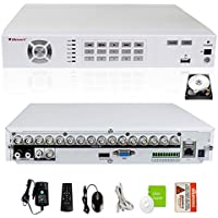 iSmart 16 Channel Full D1 P2P DVR Home Security System with 2TB HDD HDMI VGA Output, Support Alarm and PTZ D5616FH+2TB