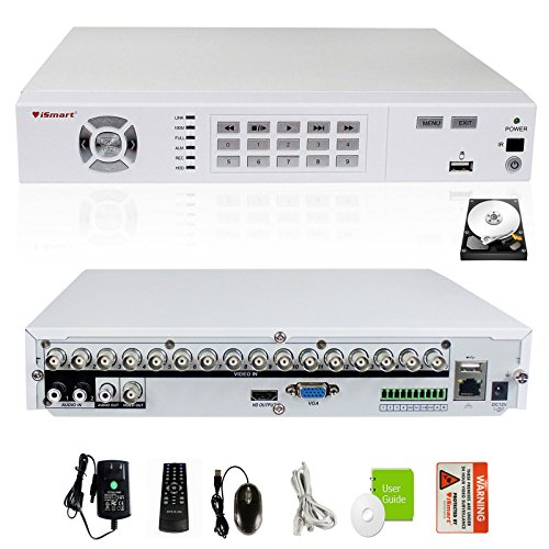 iSmart H.264 16 Channel Full D1 DVR Home Security System with 1TB HDD Pre-installed HDMI VGA Output, Smart Phone and PC Remote Access View P2P D5616FH+1TB