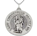 1 3/8in Round 0.925 Sterling Silver St Saint Christopher Medal Pendant 3.0mm Curb Necklace, 24''