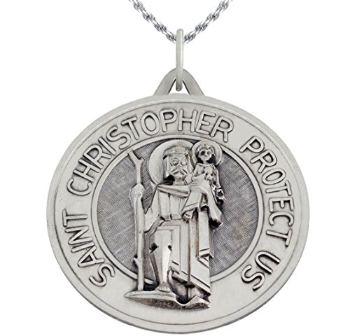 1 3/8in Round 0.925 Sterling Silver St Saint Christopher Medal Pendant 3.0mm Figaro Necklace, 18'' by US Jewels And Gems (Image #4)