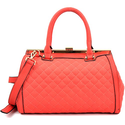 Dasein Quilted Barrel Satchel Shoulder Bag with Push-Up Closure - Coral Red