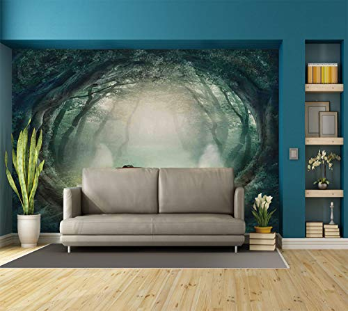 Large Wall Mural Sticker [ Halloween Decorations,Scary Halloween Pumpkin Enchanted Forest Mystic Twilight Party Art,Orange Teal ] Self-adhesive Vinyl Wallpaper / Removable Modern Decorating Wall Art