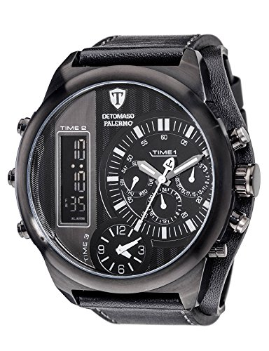 DETOMASO PALERMO Black Triple-Time Analog-Digital Men's Watch Quarz Leather DT2052-G